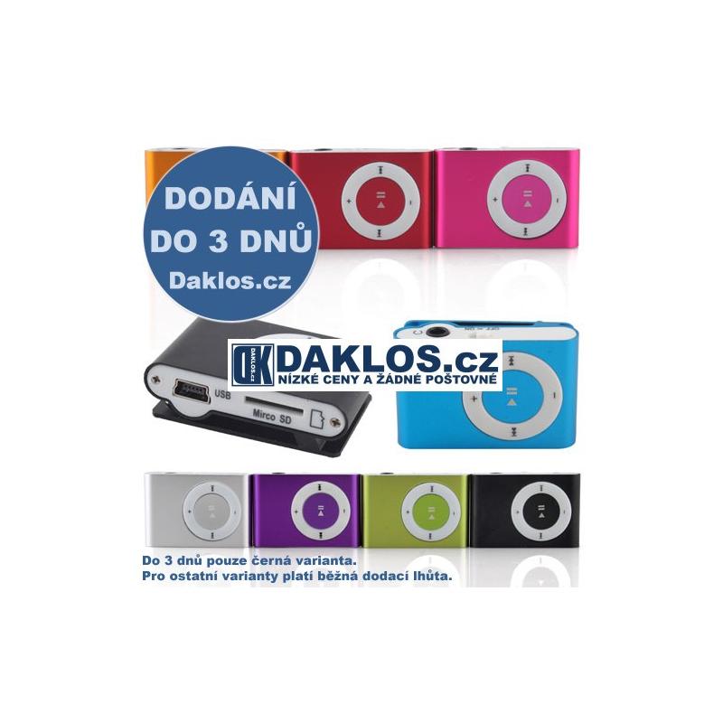 Digitální mini MP3 přehrávač se vstupem na SD kartu - různé barvy, Barva Růžová