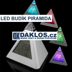 LED budík s kalendářem, teplotou a se 7 měnícími se barvami ve tvaru piramidy