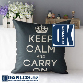 Retro potah na polštář - KEEP CALM AND CARRY ON - modrý