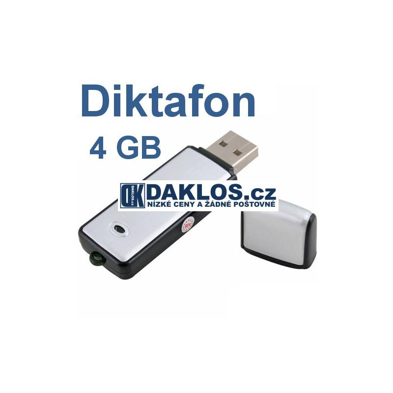 USB Diktafon (hlasový záznamník) / 4 GB paměť / nahrávání hlasu / zvuku, Barva Černá