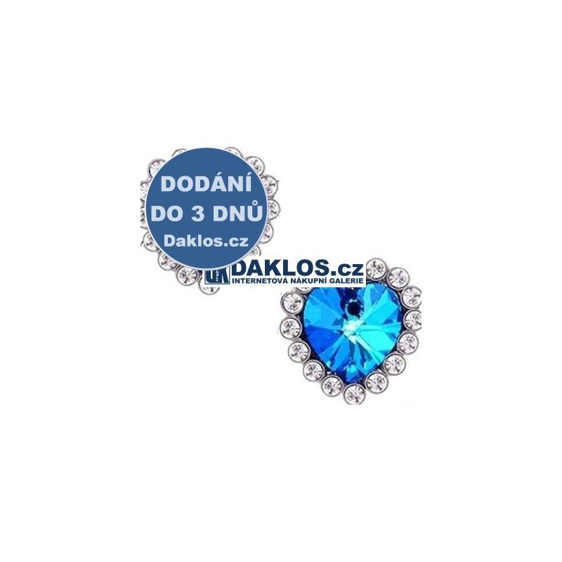 Náušnice na motivy filmu TITANIC s modrým krystalem ve tvaru srdce