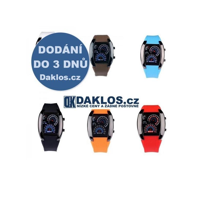 Digitální LED motoristické hodinky tachometr auto palubní deska, Barva Černá