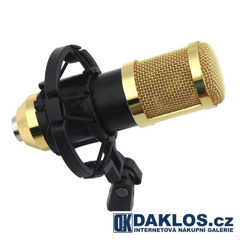 Profesionální studiový mikrofon BM800 pro náročné uživatele se stojánkem, Barevné provedení černá + zlatá
